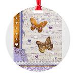 Gold butterflies purple collage Ornament