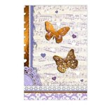 Gold butterflies purple collage Postcards (Package