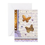 Gold butterflies purple collage Greeting Cards (Pk