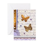Gold butterflies purple collage Greeting Card