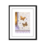 Gold butterflies purple collage Framed Panel Print