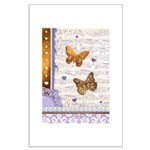 Gold butterflies purple collage Posters