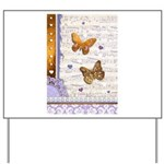 Gold butterflies purple collage Yard Sign