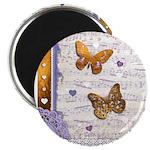 Gold butterflies purple collage Magnet