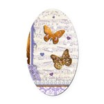 Gold butterflies purple collage Oval Car Magnet