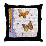 Gold butterflies purple collage Throw Pillow