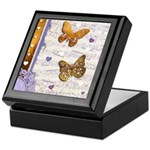 Gold butterflies purple collage Keepsake Box