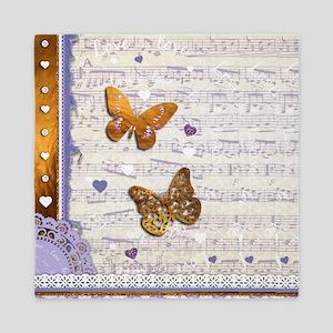 Gold butterflies purple collage Queen Duvet