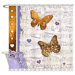 Gold butterflies purple collage Shower Curtain