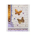 Gold butterflies purple collage Throw Blanket