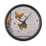 Gold butterflies purple collage Large Wall Clock