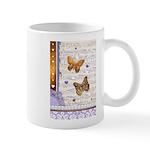 Gold butterflies purple collage Mug