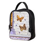 Gold butterflies purple collage Neoprene Lunch Bag