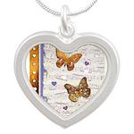 Gold butterflies purple collage Necklaces