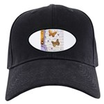 Gold butterflies purple collage Baseball Hat