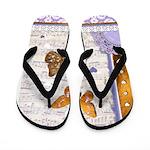 Gold butterflies purple collage Flip Flops