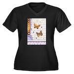 Gold butterflies purple collage Plus Size T-Shirt