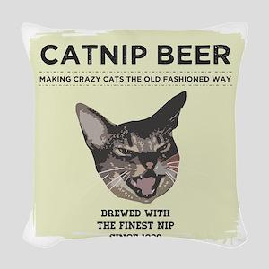 Crazy Catnip Beer light Woven Throw Pillow