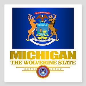 "Michigan Pride Square Car Magnet 3"" x 3"""