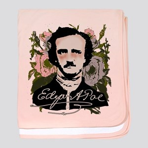 Edgar Allan Poe with Faded Roses baby blanket