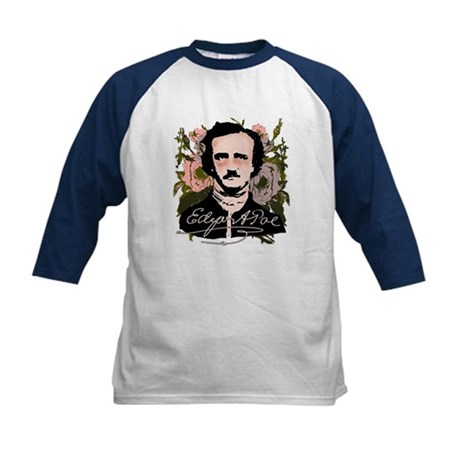 Edgar Allan Poe with Faded Roses Kids Baseball Jer