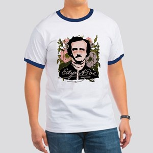 Edgar Allan Poe with Faded Roses Ringer T