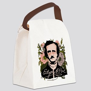 Edgar Allan Poe with Faded Roses Canvas Lunch Bag