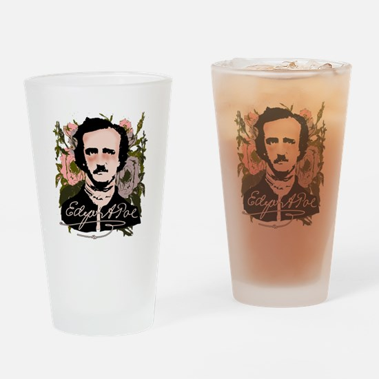 Edgar Allan Poe with Faded Roses Drinking Glass