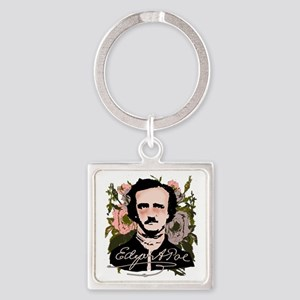 Edgar Allan Poe with Faded Roses Square Keychain