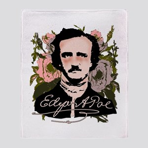 Edgar Allan Poe with Faded Roses Throw Blanket