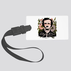 Edgar Allan Poe with Faded Roses Large Luggage Tag