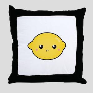Kawaii Lemon with a sour expression Throw Pillow