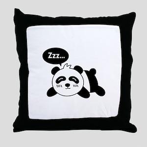 Cartoon of Cute Sleeping Panda Throw Pillow