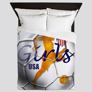 USA Girls Soccer Queen Duvet
