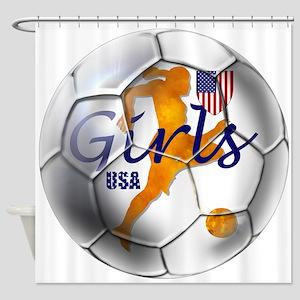 USA Girls Soccer Shower Curtain