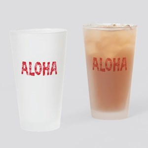 Aloha in Red and Pink Floral Pattern Drinking Glas