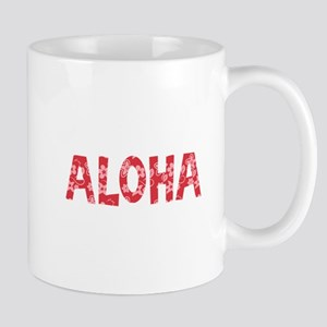Aloha in Red and Pink Floral Pattern Mug