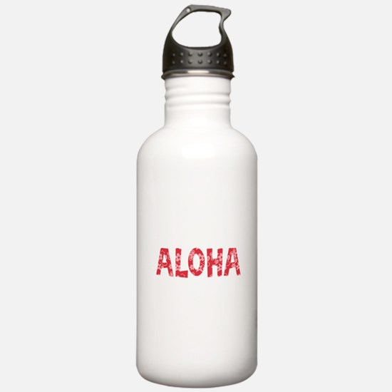 Aloha in Red and Pink Floral Pattern Water Bottle