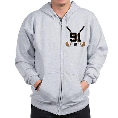 Field Hockey Number 91 Zip Hoodie