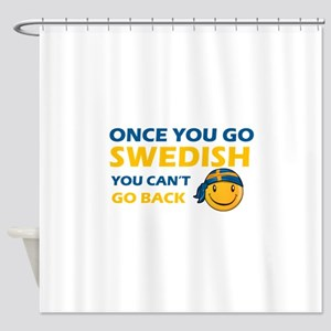 Funny Swedish flag designs Shower Curtain