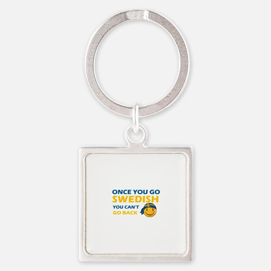 Funny Swedish flag designs Square Keychain