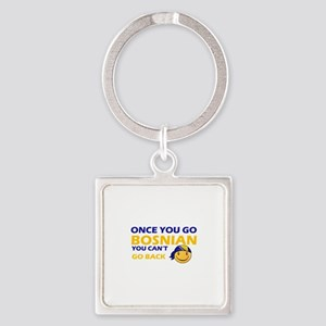 Funny Bosnian flag designs Square Keychain