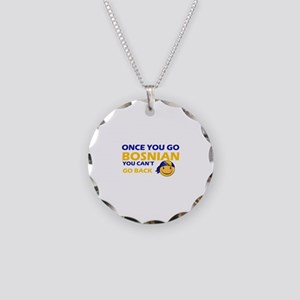 Funny Bosnian flag designs Necklace Circle Charm