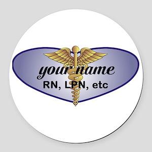 Personalized Nurse Round Car Magnet