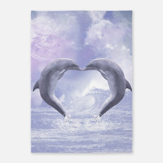 Dolphins Kisses 5'x7'Area Rug