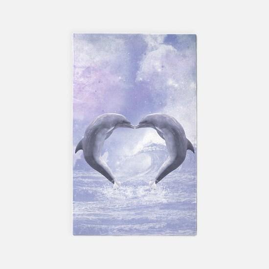 Dolphins Kisses 3'x5' Area Rug