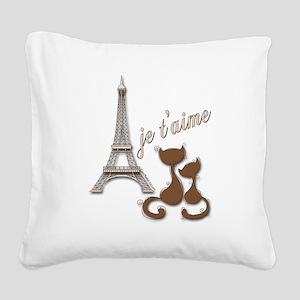 Chocolate Brown I Love Paris Eiffel Tower Cats Squ