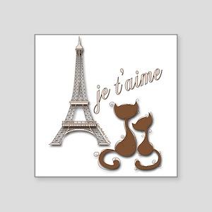 Chocolate Brown I Love Paris Eiffel Tower Cats Sti