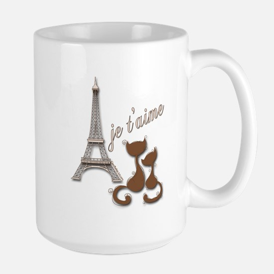 Chocolate Brown I Love Paris Eiffel Tower Cats Mug