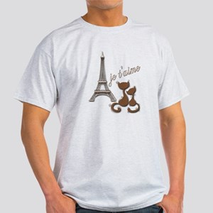 Chocolate Brown I Love Paris Eiffel Tower Cats T-S
